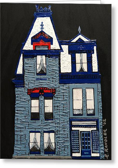 Blue Victorian Mansion Montreal Greeting Card