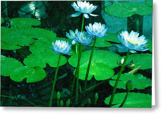 Blue Water Lily Greeting Card by Design Windmill
