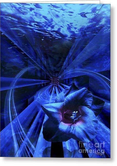 Blue Waterflower Greeting Card