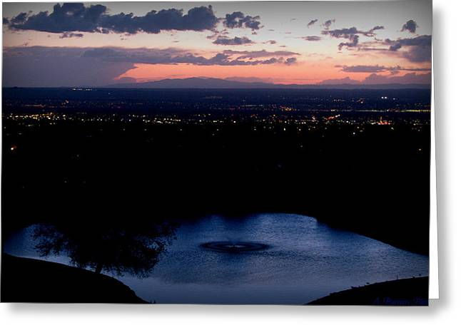 Blue Waters And City Lights Greeting Card by Aaron Burrows