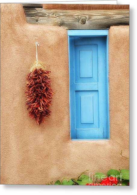 Blue Window Chillies Greeting Card by Tamera James