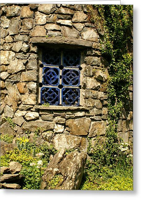 Blue Window Greeting Card by Margaret Steinmeyer