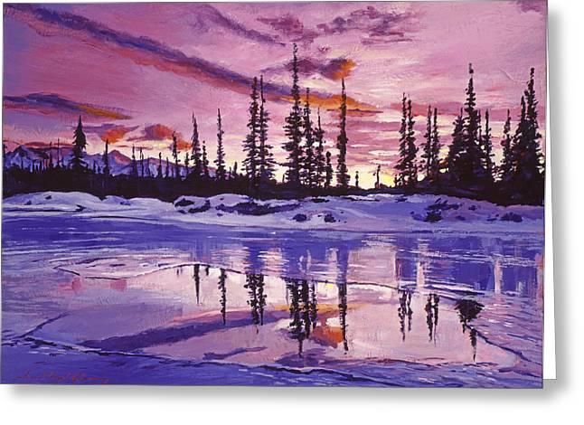 Blue Winter Sunrise Greeting Card by David Lloyd Glover