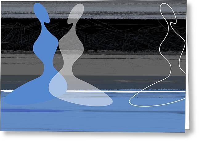 Blue Women Greeting Card
