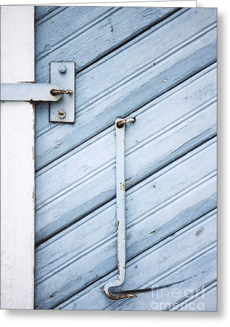 Greeting Card featuring the photograph Blue Wooden Wall With Metal Hook by Agnieszka Kubica
