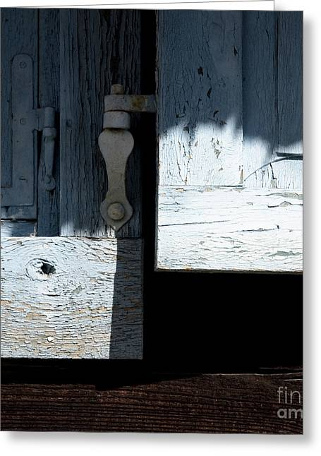 Greeting Card featuring the photograph Blue Wooden Window Shutters by Agnieszka Kubica