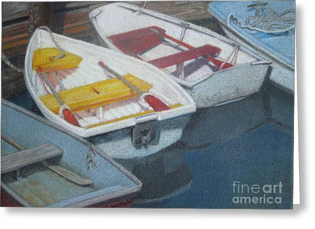 Blue Yellow And Red Boats Tremont Maine Greeting Card