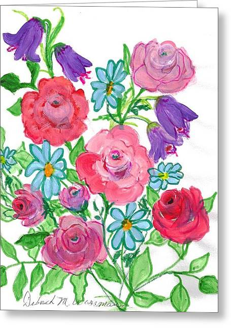 Bluebells And Roses Greeting Card by Debbie Wassmann