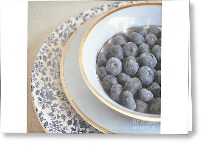 Blueberries In Blue And White China Bowl Greeting Card