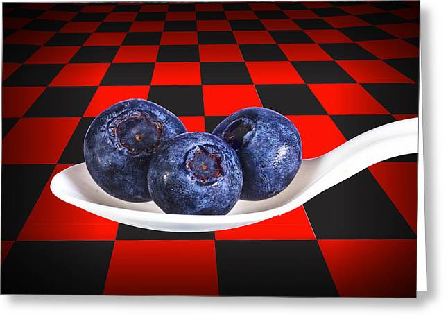 Blueberries On White Spoon Against Checker Board Background Greeting Card by Randall Nyhof