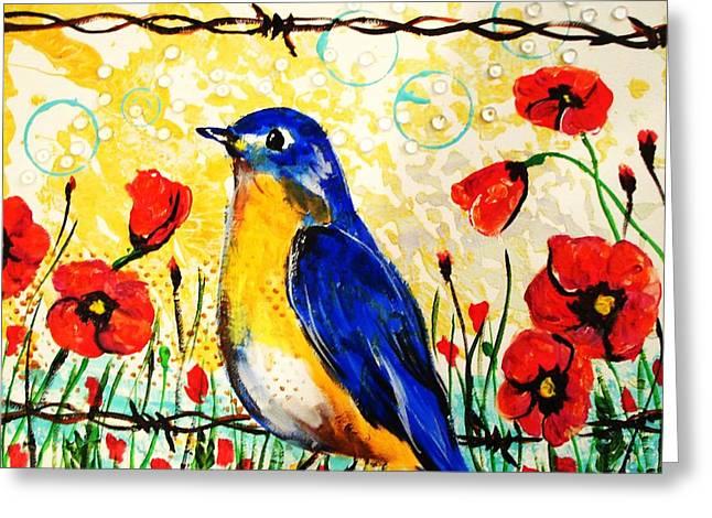 Bluebirds2 Greeting Card by Paula Shaughnessy