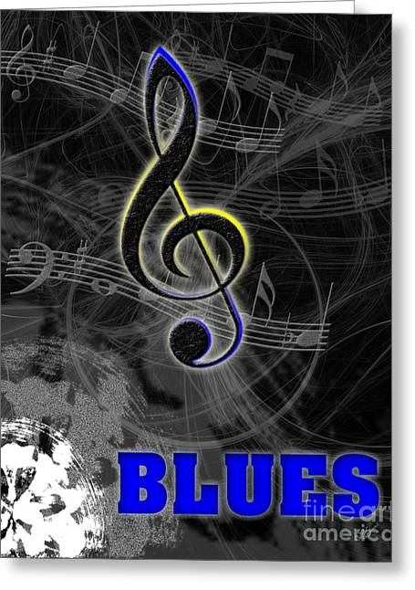 Blues Music Poster Greeting Card by Linda Seacord
