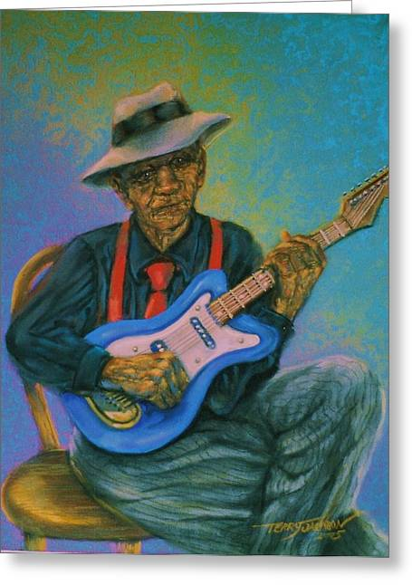 Bluesman Greeting Card by Terry Jackson