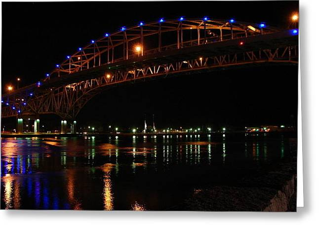 Greeting Card featuring the mixed media Bluewater Bridges At Night Facing North by Bruce Ritchie