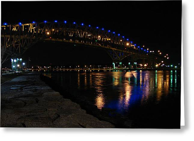 Greeting Card featuring the mixed media Bluewater Bridges At Night Facing South by Bruce Ritchie