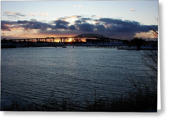 Bluewater Bridges In Winter 1 Greeting Card