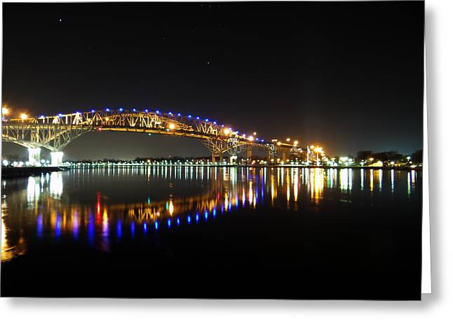 Bluewater Bridges On A Warm Spring Night Greeting Card