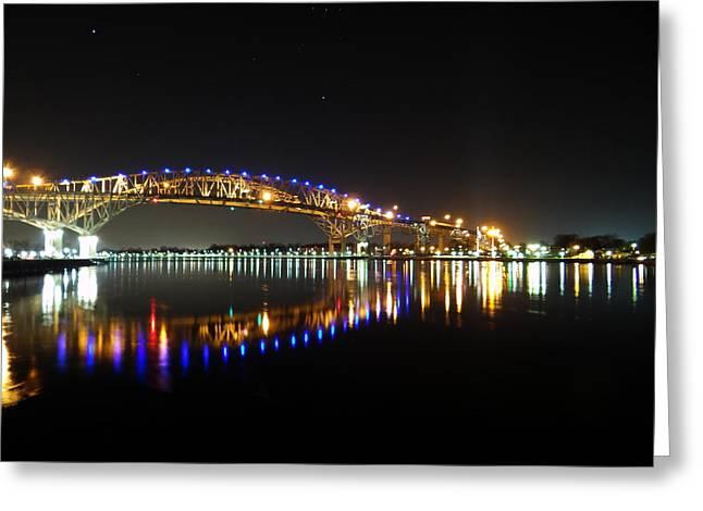 Bluewater Bridges On A Warm Spring Night Greeting Card