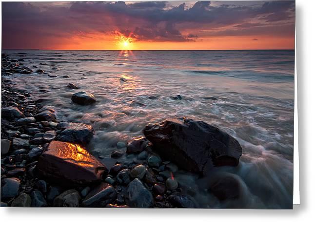 Bluffs Beach Sunset 1 Greeting Card by Darren Creighton