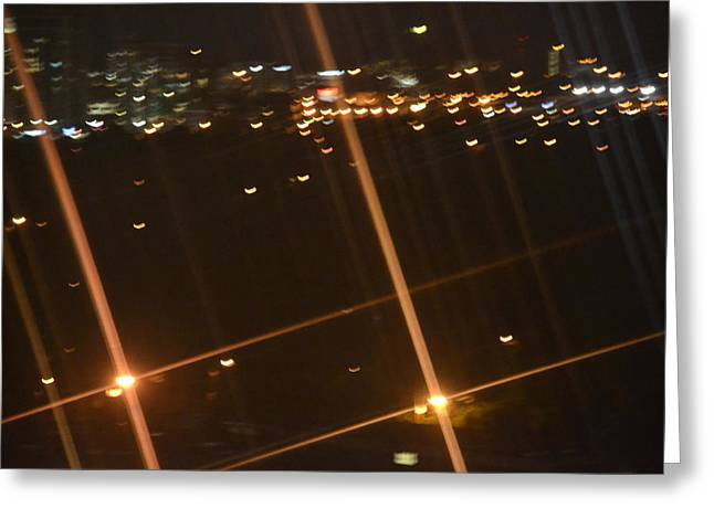 Blurred City Nights Greeting Card by Naomi Berhane