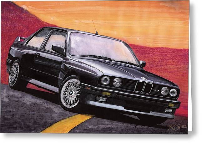Greeting Card featuring the painting Bmw E30 M3 by Rod Seel