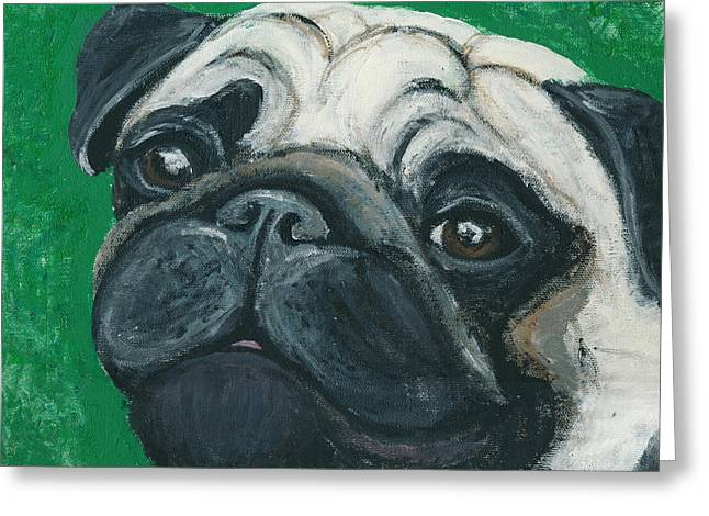 Bo The Pug Greeting Card by Ania M Milo