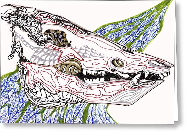 Boar Skull Ink Greeting Card by Mary Schiros