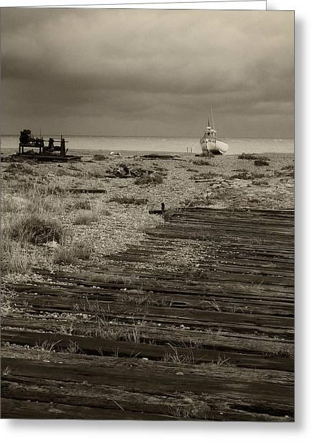 Boardwalk At Dungeness Greeting Card by David Turner