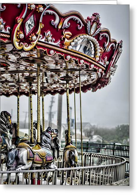 Boardwalk Carousel Greeting Card by Heather Applegate