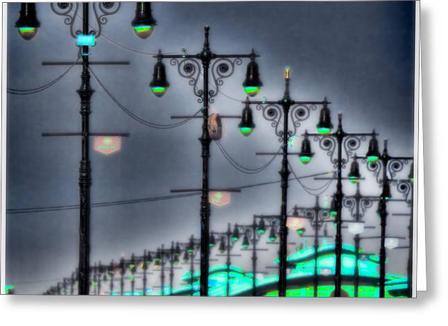 Greeting Card featuring the photograph Boardwalk Lights by Chris Lord