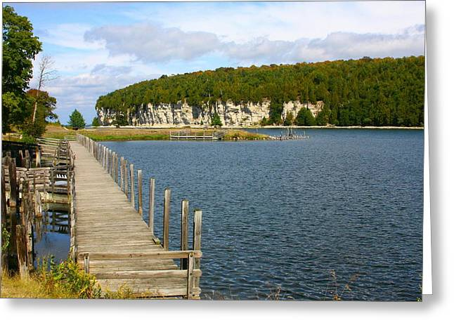 Boardwalk On A Counry Lake Greeting Card by Western Roundup