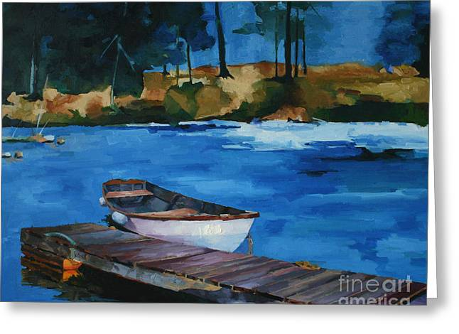 Boat And Bridge Greeting Card by Pepe Romero