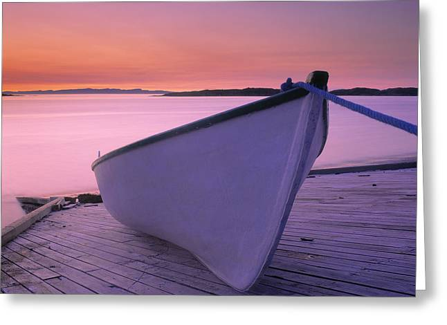 Boat At Dawn, Harrington Harbour, Lower Greeting Card by Yves Marcoux