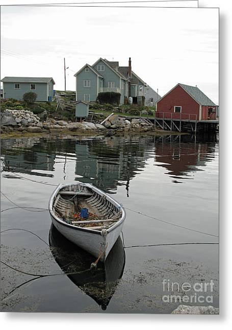 Boat At Peggy's Cove Greeting Card by Louise Peardon