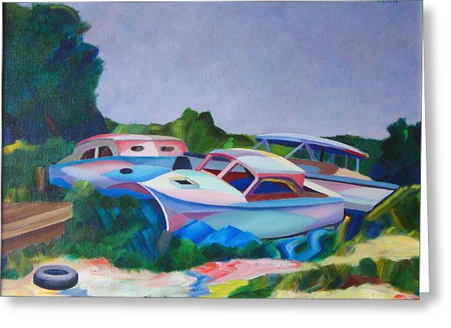 Greeting Card featuring the painting Boat Dreams by Robert Henne