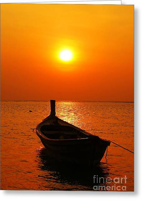 Boat In Sunset  Greeting Card by Anusorn Phuengprasert nachol