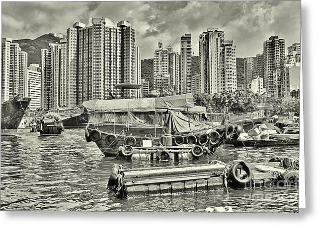 Boat Life In Hong Kong Greeting Card by Joe  Ng