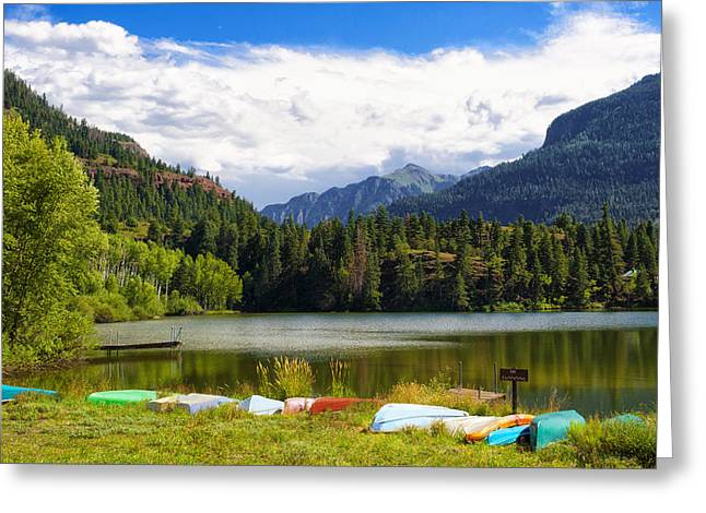 Boat Lined Lake Greeting Card