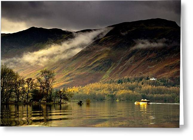 Boat On Lake Derwent, Cumbria, England Greeting Card by John Short