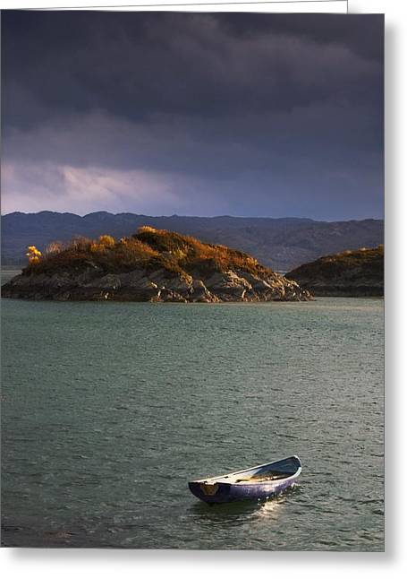 Boat On Loch Sunart, Scotland Greeting Card by John Short