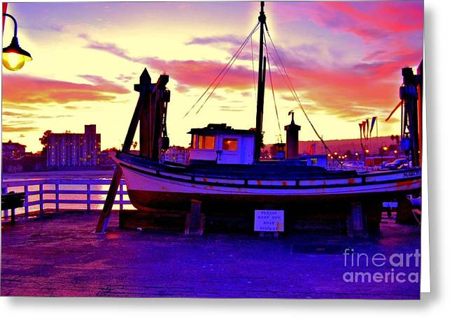 Boat On Santa Cruz Wharf Greeting Card by Garnett  Jaeger
