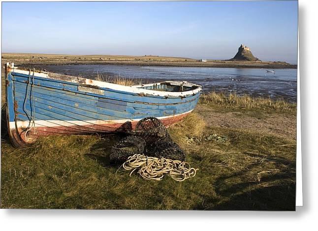 Boat On Shore, Near Holy Island, England Greeting Card