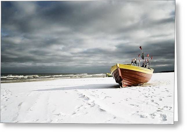 Boat On Snowy Beach Greeting Card by Agnieszka Kubica