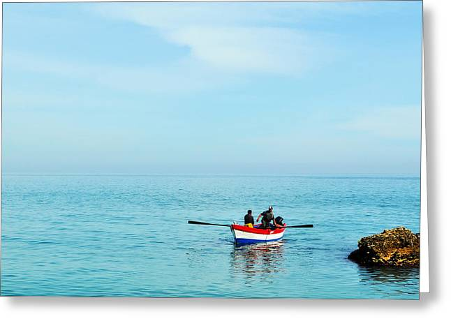 Boat On The Mediterranean Sea Greeting Card