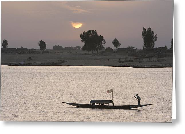 Boat On The Niger River In Mopti, Mali Greeting Card by Peter Langer