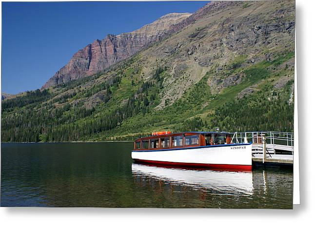 Boat On Two Medicine Greeting Card by Marty Koch