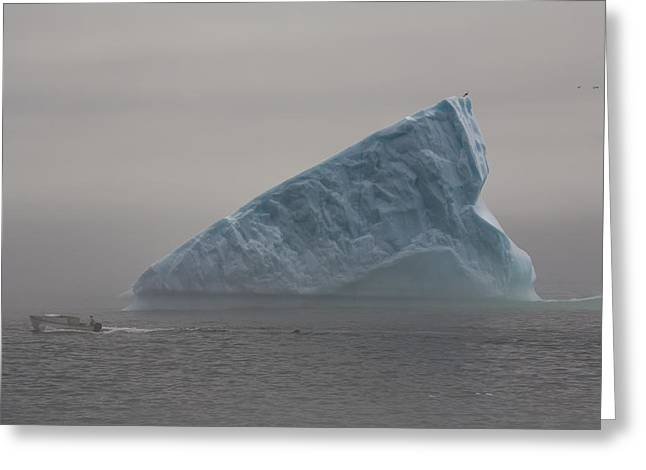 Boat Passing Iceberg In Fog, Quirpon Greeting Card by John Sylvester
