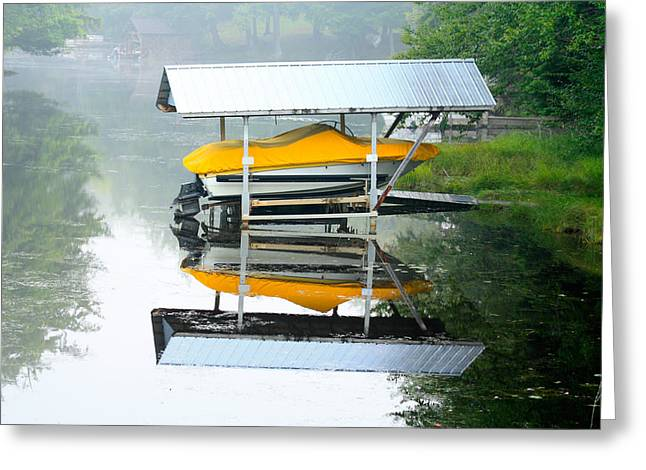 Boat Reflections Greeting Card by Ann Murphy