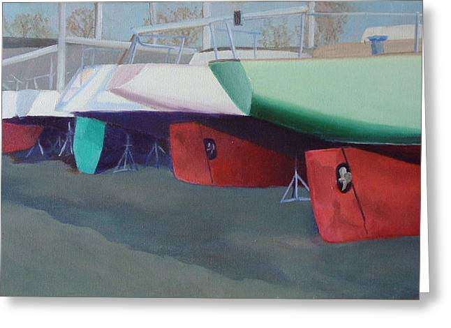 Greeting Card featuring the painting Boat Yard Island Heights by Robert Henne