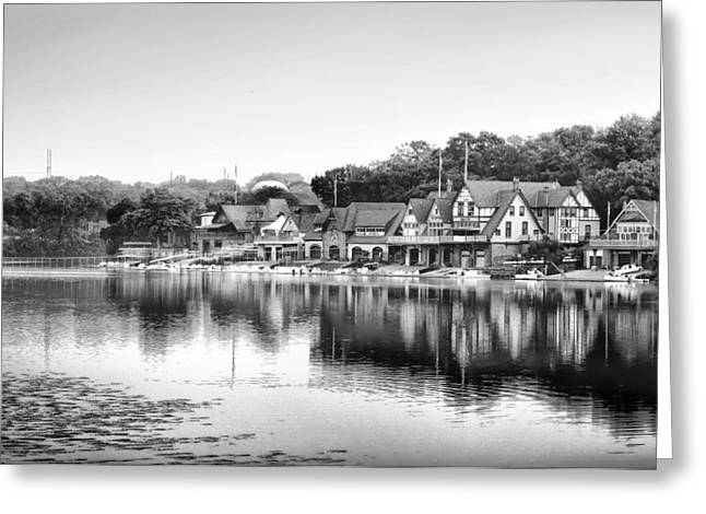 Boathouse Row In Black And White Greeting Card by Bill Cannon